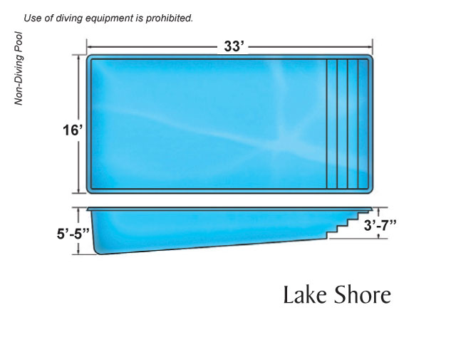 Outer banks rectangle shape pool designs by viking pools for Pool design dimensions
