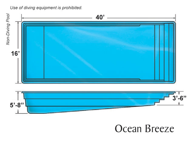 Outer banks rectangle shape pool designs by viking pools for Residential swimming pool dimensions in meters