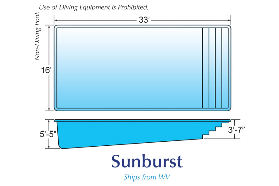 Sunburst Rectangle pool designs by Hawaiian Pools with Caribbean Pools on the Outer Banks NC