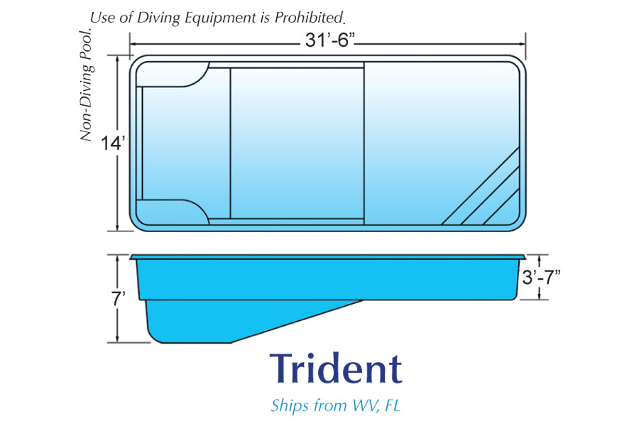 Trident Rectangle pool designs by Hawaiian Pools with Caribbean Pools on the Outer Banks NC